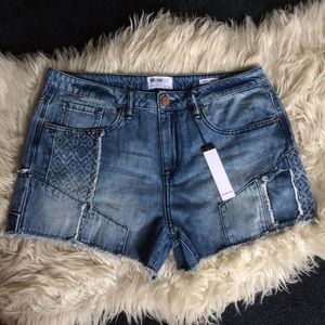 NWT William Rast patchwork jean shorts 30